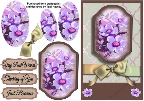 This is a very  pretty 3D pyramid easy to make card that can be used for many reasons.  Has 3 Labels Thinking of you, Very Best Wishes, and, Just Because.  This card is comes in 2 colours purple and blue Tones.  Fits into any A5 envelope when finished.