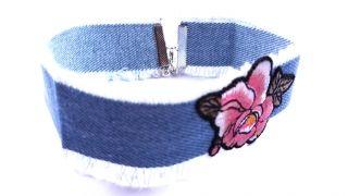 Jeans Flower Choker