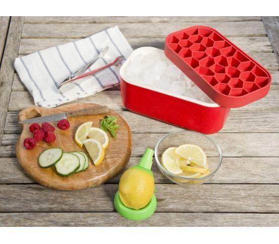 Lekue - Foremka do lodu i pudełko Ice Box, czerwone