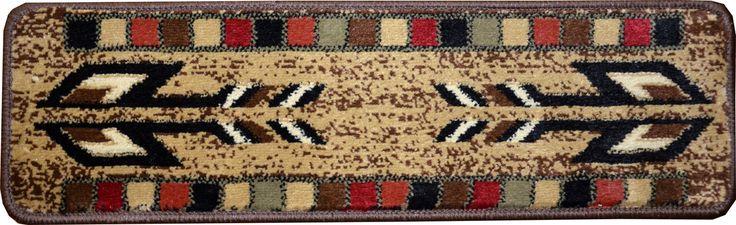 "Dean Non-Slip Pet Friendly Carpet Stair Step Cover Treads - Santa Fe Beige 31""W (15) Southwestern Lodge Cabin Style Rugs - Dean Stair Treads"