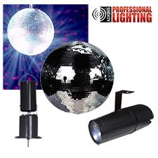 """This kit contains everything you need to create dazzling mirror ball effects. It comes with an 8"""" glass-tiled mirror ball, spot light with adjustable mounting bracket and a battery powered mirror ball motor.. Installs in minutes and is great for house parties, mobile DJs. Our best value in mirror ball kits."""