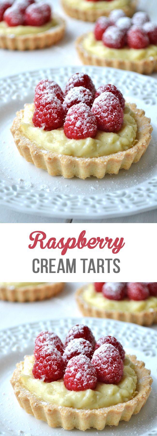 Delicious Raspberry & Vanilla Cream Tarts made with a shortbread crust, vanilla cream filling and fresh raspberries on top!