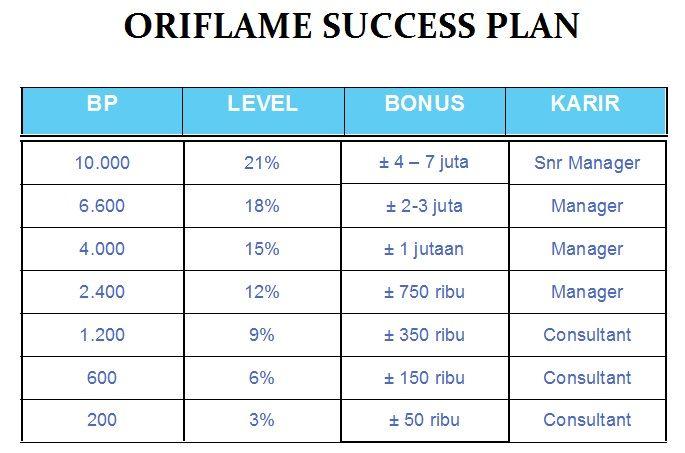 Penghasilan yang ditawarkan Oriflame dari tahap Konsultan hingga Senior Manager.