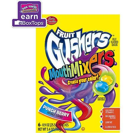 Betty Crocker Fruit Gushers Mouth Mixers Punch Berry Fruit Flavored Snacks, 0.9 oz, 6 count