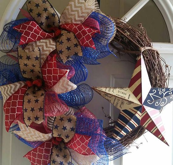 This is a beautiful Patriotic Wreath. This wreath would be great for Memorial Day, 4th of July, and even Labor Day. It includes a grapevine wreath base, several ribbons and a tin star sign. It is approximately 24 X 24 when you include the ribbons and star. The grapevine wreath base is approximately 18-20. This is a made to order wreath. Please allow 1-2 weeks for making the wreath. I ship USPS Priority Mail with tracking and insurance or standard depending on cost. My ship days are Thursday…