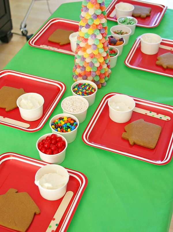Cheerful Christmas Cookie Exchange party with gingerbread cookie decorating.