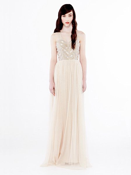 EILEEN KIRBY - Charm Dress - Elegant - Formal - Graduation - Soft Tulle Skirt - Sequin and Bead Bodice - Racer Back - Nude $660.00