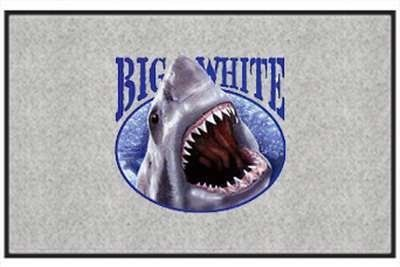 """Big White Shark - Saltwater Fish - Gray - Door and Welcome Mat by Express Yourself Mats. $24.88. Non-Skid Backing. Made in USA. Personalization Available (choose above) - EMAIL TEXT TO SELLER AFTER CHECKOUT. Great Gift Idea!. Door Mat Size 27""""x18"""". Enjoy the Big White Shark design heat pressed on this light-weight, low pile, woven polyester door mat. This decorative welcome mat measures 27 x 18 inches, is 1/8 inch thick and features a non-skid latex coating on t..."""