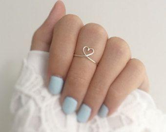 Corazón nudillo anillo anillo de corazón de plata por baublesbybets