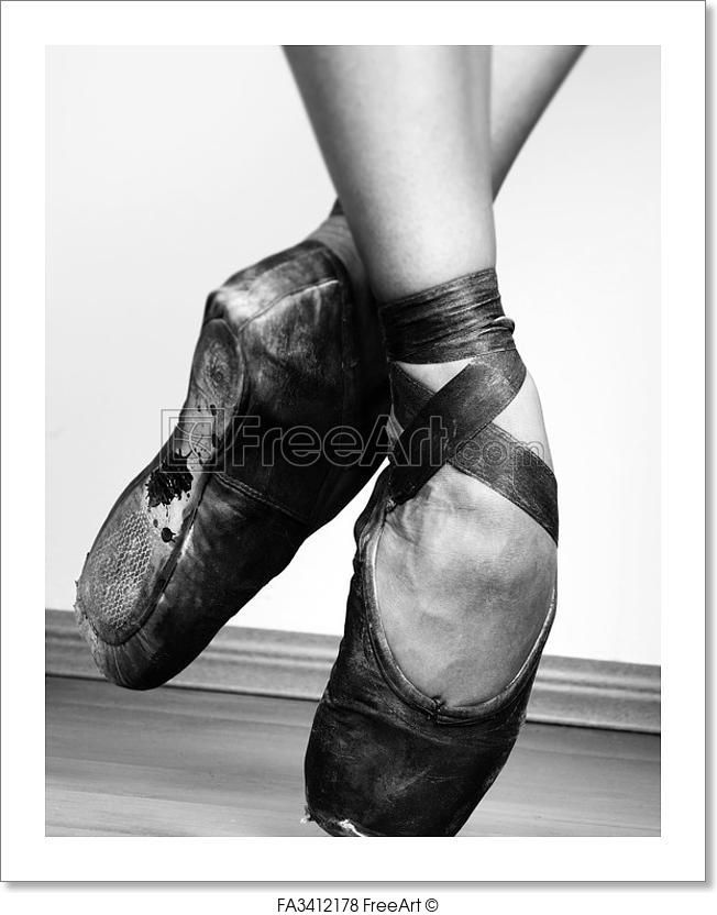 """A pair of well worn ballet shoes, studio shot Black and white"" - Art Print from FreeArt.com"