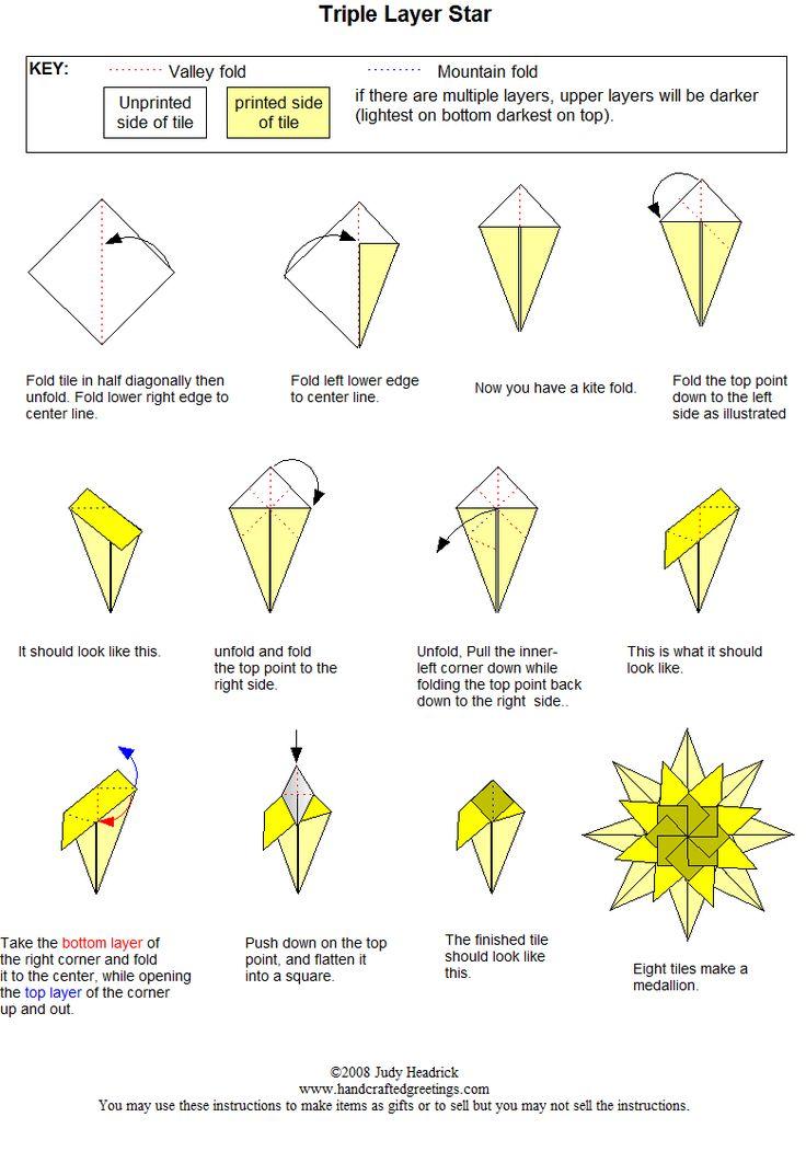 Folding instructions triple layer star medallion