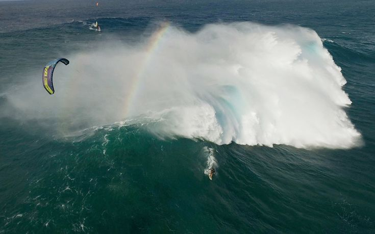 Filmed in Peahi, Hawaii, this incredible footage shows US athletes Jesse Richman, 23, and Patri Mclaughlin, 26, going up against some of the most infamous waves in the world. Shot in October by drone filmmaker Justin Edwards, 35, the surfing break in Peahi is known as 'Jaws' and can produce waves which can reach heights of 40 foot. Justin reveals he almost broke his drone camera following the daredevils as they courageously charged at the dangerous swells.