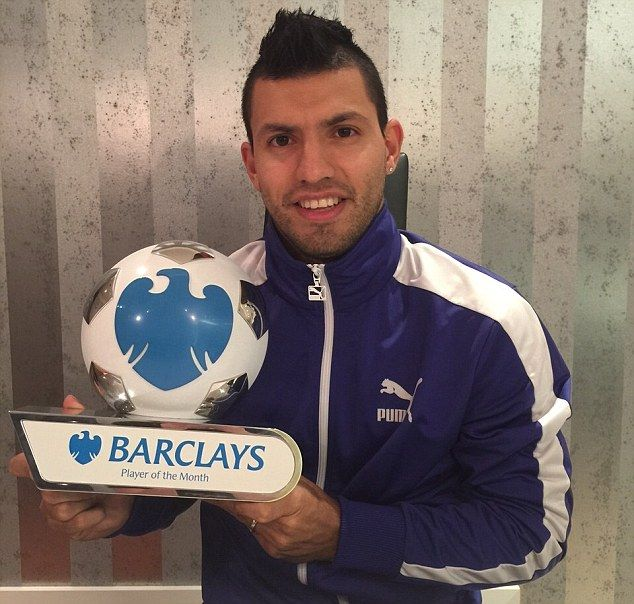 Sergio Aguero with 3 goals in 4 appearances for Manchester City won the Premier League player of the month November.