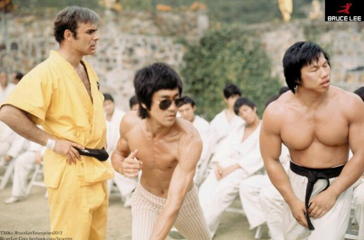 "Bruce Lee, John Saxon, & Bolo Yeung on the set of ""Enter The Dragon"""
