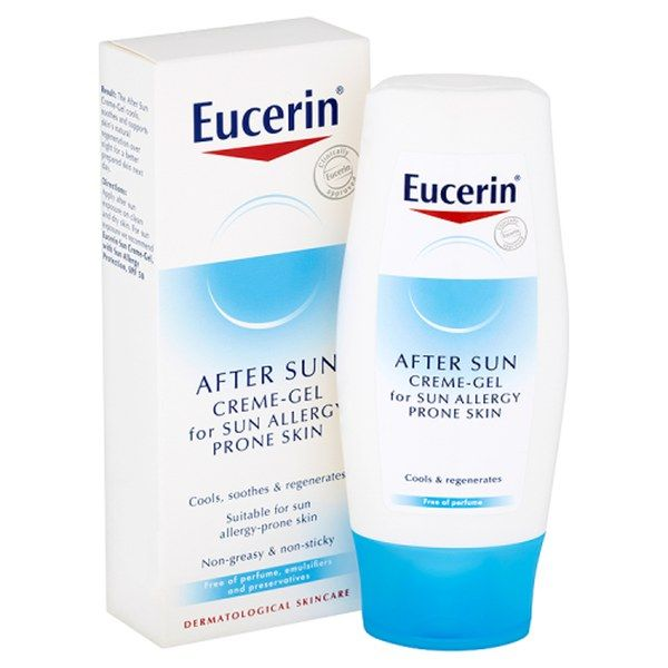 Eucerin® After Sun Creme-Gel for Sun Allergy Prone Skin (150ml) It contains potent natural ingredients to help shield you from harmful rays and prevent free radicals from forming, regenerating your skin overnight. This clinically approved antioxidant formula was created with dermatologists to provide a shield from sun allergies, while supporting the skin's own protection system.