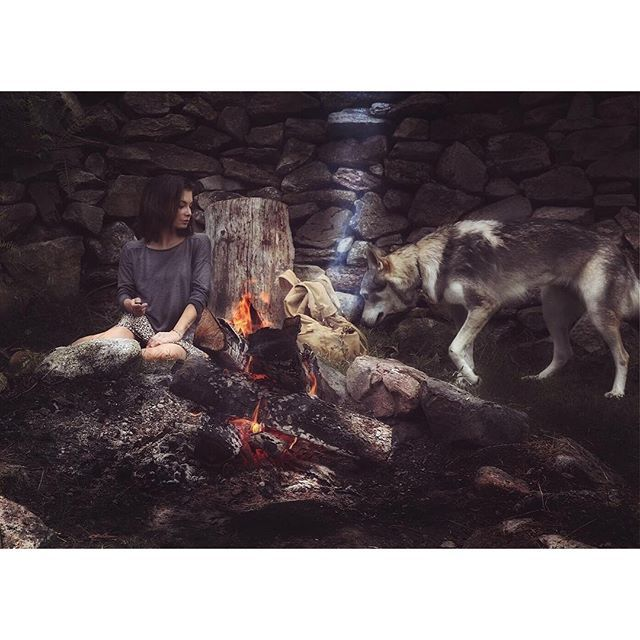 Today was magical.. My wolfdog Maya & I are chilling by the fire in a…
