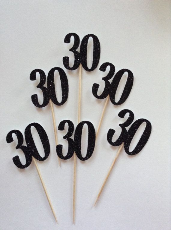 Brighten up your cakes with my sparkly cake toppers. These gorgeous cake toppers are perfect for a 30th Birthday party, Wedding Anniversary or celebration. They can be used on individual cupcakes or muffins and look equally lovely on a traditional standard cake. The numbers are made from glitter cardstock. The front is sparkly and the back is plain white.  Please contact me if you would like these in a different colour glitter card.  Click here to view my 40th birthday banner: https:/&#x...