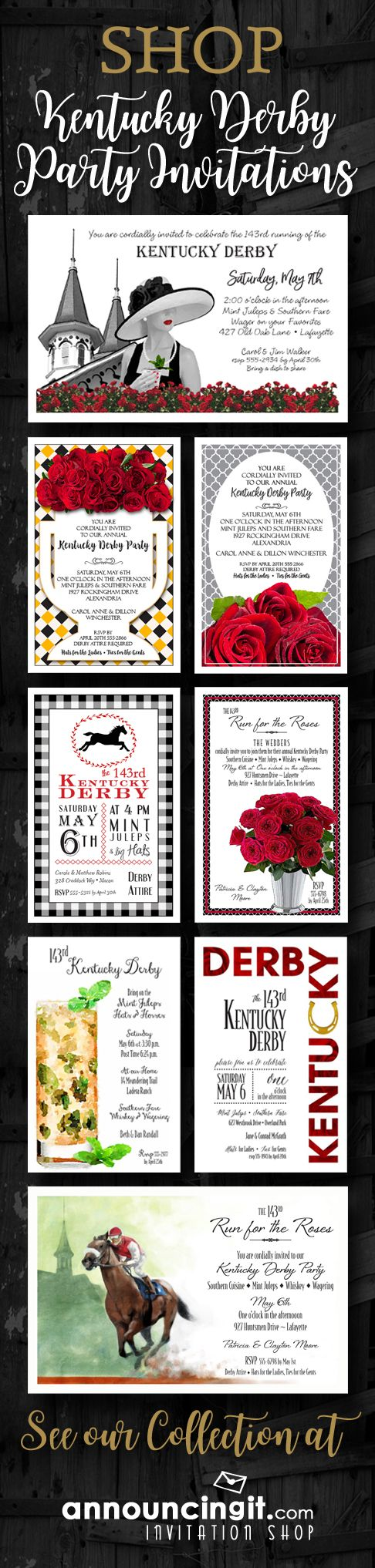 Kentucky Derby Party Invitations your guests will love! Also fabulous for derby themed bridal shower invitations, derby themed birthday invitations and horse racing invitations. Come see our entire collection at Announcingit.com Invitation Shop