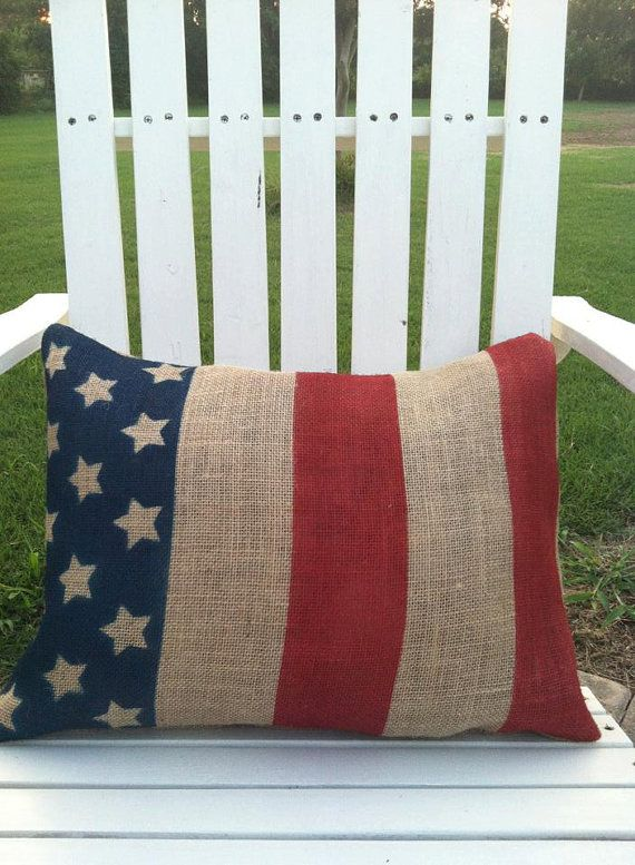 Patriotic Burlap Pillow by CuzitsCute on Etsy, $22.00