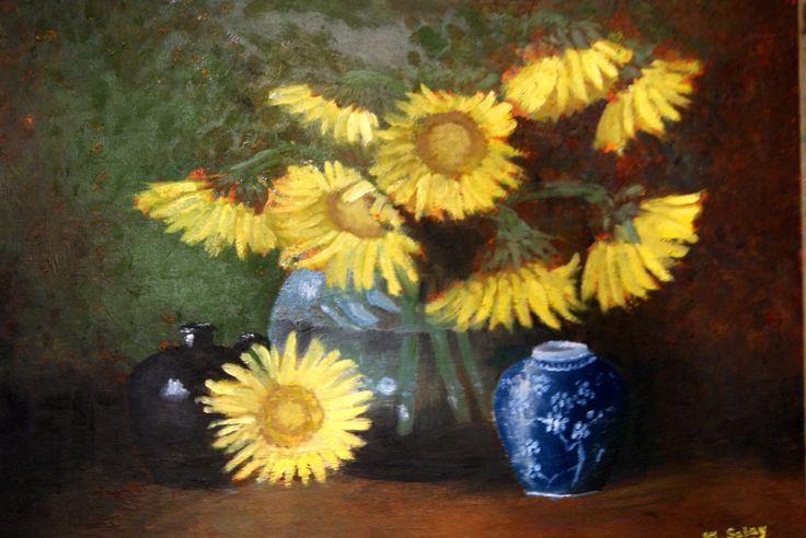 slnečnicové zátišie olejomalba - sunflowers still-life oil painting