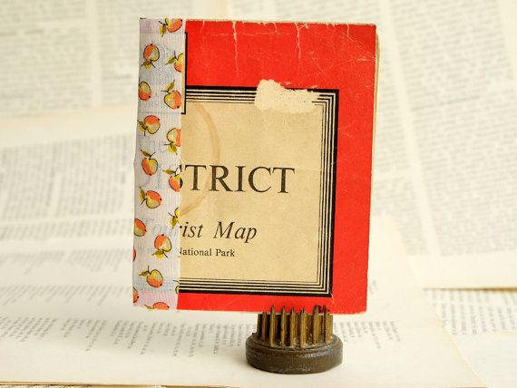 Hand-bound upcycled journal with vintage cover. Lake District map - Little Book [1]