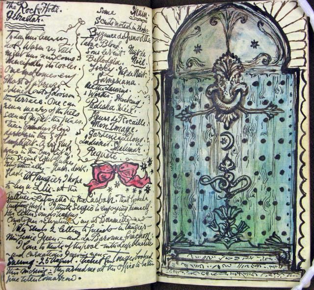 This illustrated diary by Stephen Tennant (1906–1987), a friend of the photographer Cecil Beaton, records a holiday in Gibraltar, Morocco and Tangier in 1948.    A door in Gibraltar.
