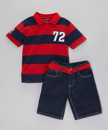Look what I found on #zulily! Red Polo & Belted Shorts - Infant, Toddler & Boys #zulilyfinds