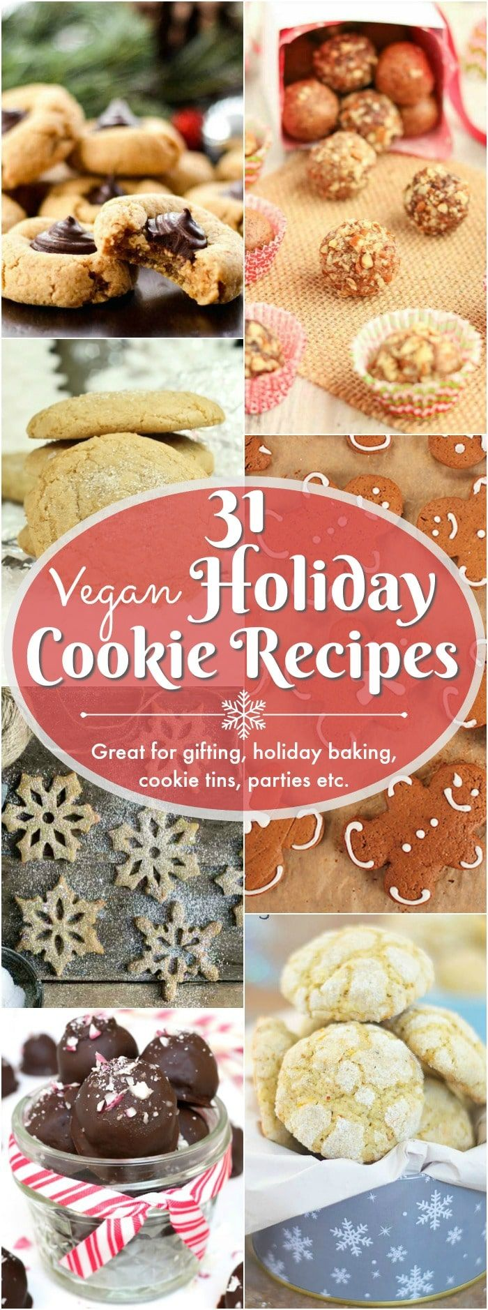 31 holiday favorite cookie & truffle recipes. Some healthy. Some decadent. But, they're all crowd pleasers! Fill up those festive tins, gift boxes and cookie platters with a variety of vegan holiday cookies and truffles! Plenty of gluten-free options too!