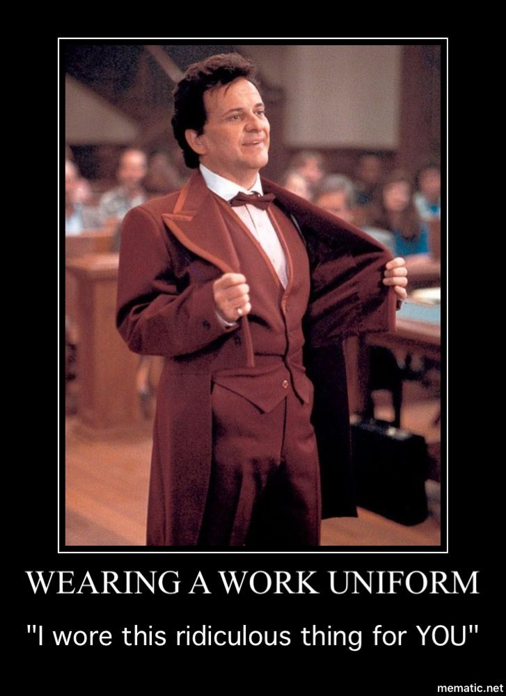 Wearing work uniform My Cousin Vinny