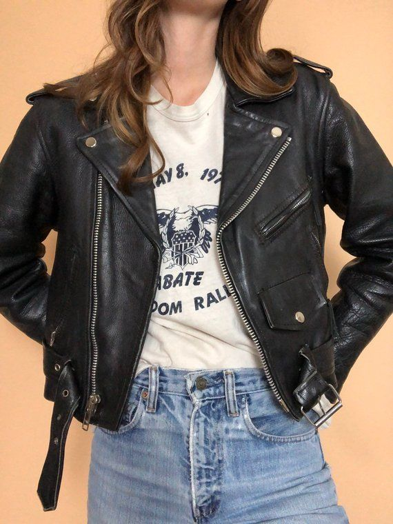 Vintage Womens Leather Motorcycle Jacket M 80 S 90 S Leather Jacket Motorcycle Jacket Women Vintage Leather Jacket Leather Jacket Outfits