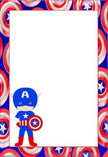 Marcos, Invitaciones, Tarjetas o Etiquetas del Capitán América para Imprimir…