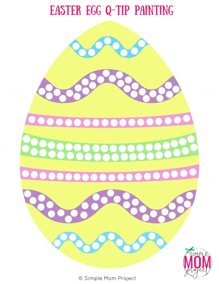 Easy Easter Egg Q Tip Painting Free Printable Template