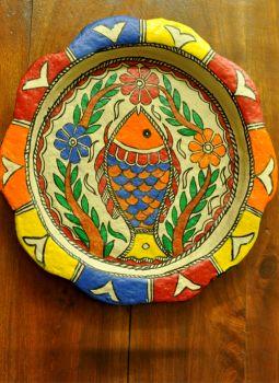 Trays,Indiacraft,Madhubani wall plaque or tray - papier mache orange fish-...