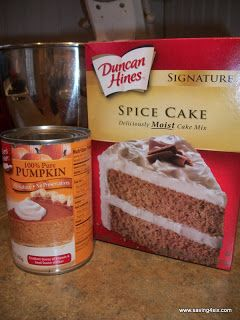 15 oz canned pumpkin; 	1 serving(s) Duncan Hines Spice Cake, and 1/2 cup(s) water.