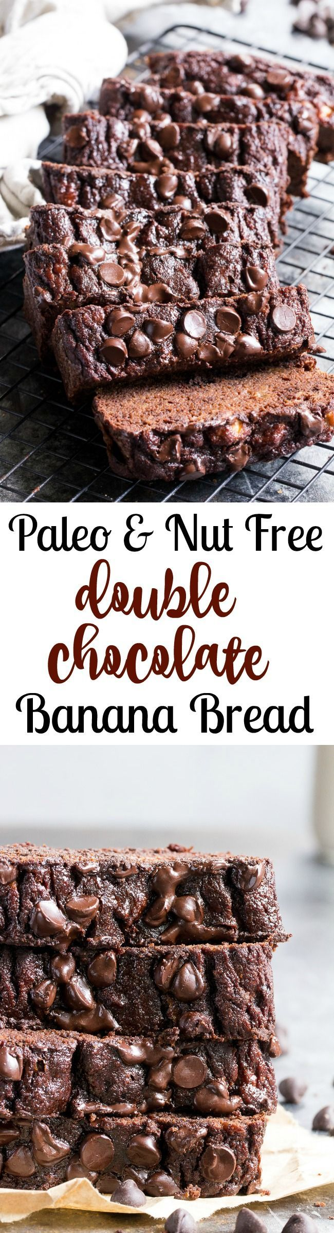 This moist and tender double chocolate banana bread tastes as good as chocolate cake, but it's so much healthier! Made with coconut flour and raw cacao powder, it's paleo, nut free, gluten-free, dairy-free, family and kid approved!  Great for snacks, breakfast or a healthy dessert!