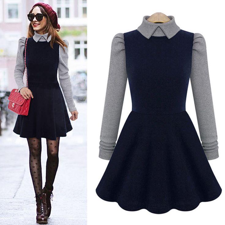 New Women's Doll Collar Dress Slim Autumn Winter Long Sleeve Knit Skater Dresses #ZNU #Tunic #Casual