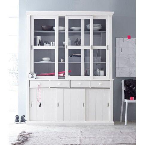 uffet im Cottagelook, innen grau und außen weiß lackiert. Aus Kiefernholz. #impressionen #kitchen