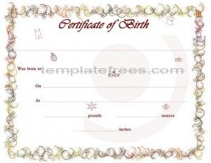Colorful Printable Baby Birth Certificate For Word Template  Birth Certificate Template Word