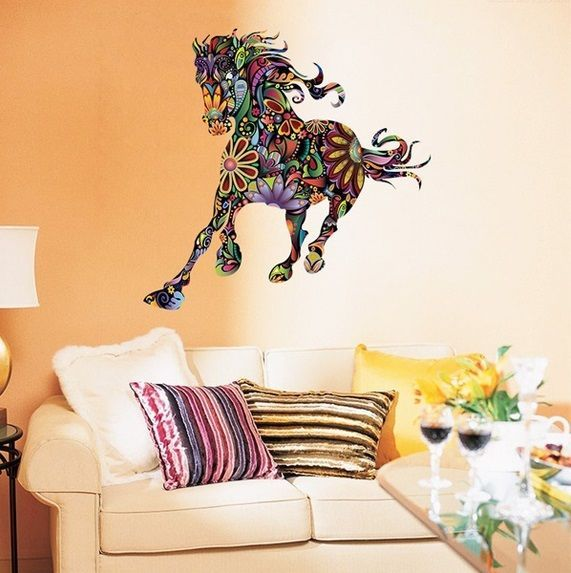 Large Running Flower Horse Wall Sticker Nursery Kids Living Room Wall Decal Gift  | eBay