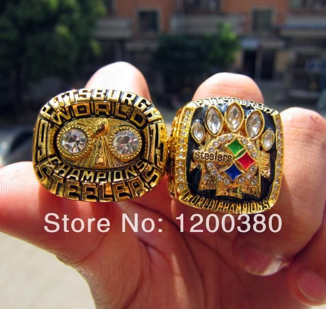 Free Shipping replica 1975 2005 Pittsburgh Steelers Super Bowl Championship Ring 2 Together Solid Fan Gift