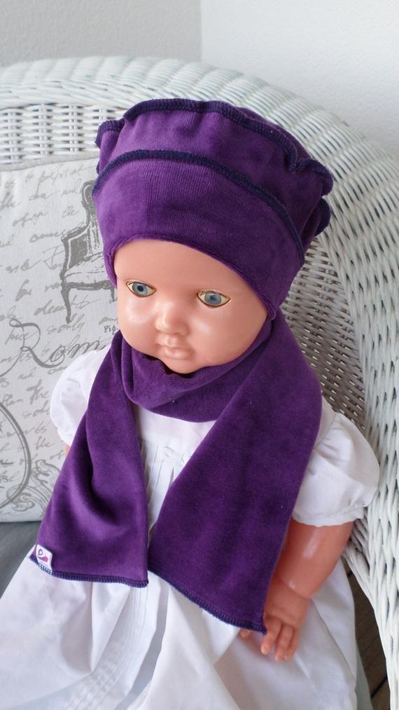 bonnet béret chapeau  écharpe bébé fille  mauve en jersey velours  lin eva  kids  nouvelle collection automne hiver 2018 doux agréable noel 3ea9f8f7a03
