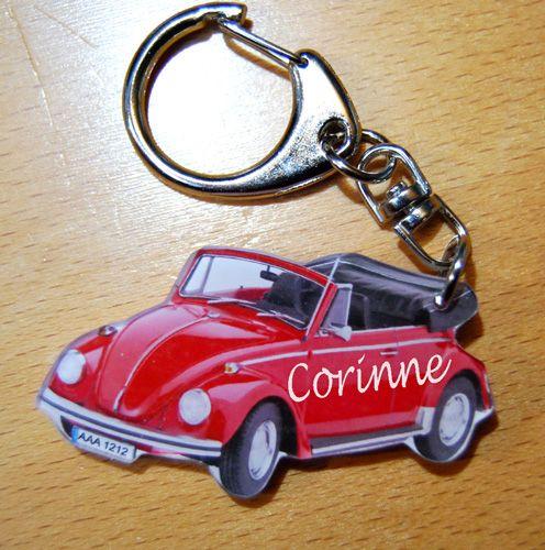 porte-cles personnalise prenom et ou texte COCCINELLE cabriolet VW KAFER 1500 pour un cadeau original et tendance