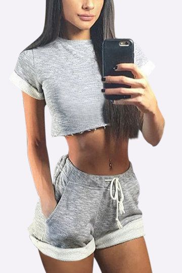 This stunning style is including crew neck crop top and drawstring waist shorts. It is suit for you when you just for a casual look.