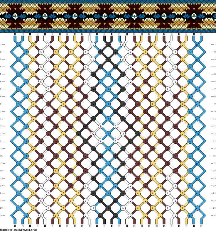 friendship bracelet pattern Strings: 26 Rows: 24 Colors: 5