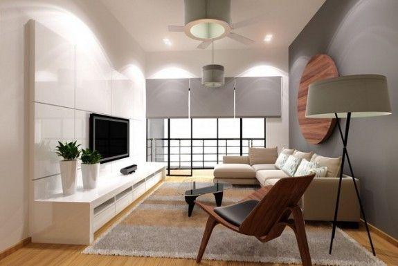 colores clarso en el salón con diseño zen