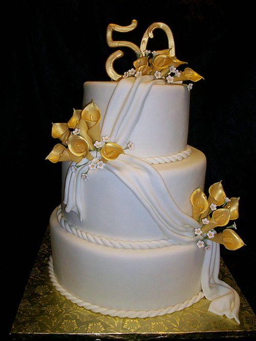 50th Birthday Cake With Golden Design Adult Birthday ...