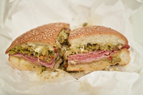 Muffaletta Sandwich - Hot from the oven, dripping with melted ...