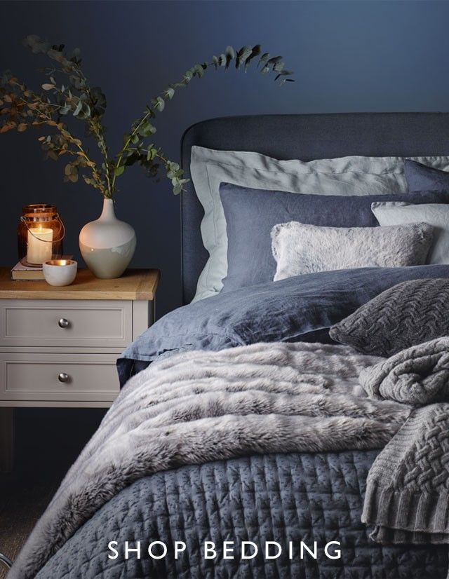 Navy bedding and throw ideas from John Lewis.