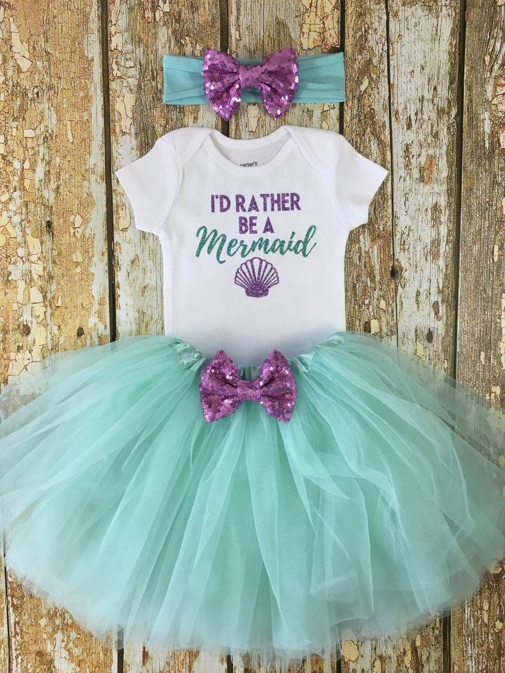 """This adorable """"I'd Rather Be A Mermaid"""" outfit is perfect for a mermaid themed party or just because!"""