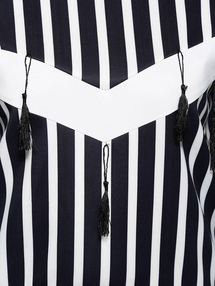 Plus Size Striped Fringed Sweatshirt